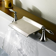 Contemporary Roman Tub Waterfall with  Ceramic Valve Two Handles Three Holes for  Nickel Brushed , Bathtub Faucet