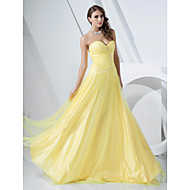 Prom / Formal Evening / Military Ball Dress - Plus Size / Petite A-line / Princess Strapless / Sweetheart Floor-length Satin / Tulle