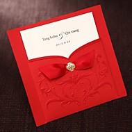 Simple Asian Style Embossed Tri-fold Wedding Invitation In Red With Ribbons-Set of 50/20