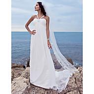 Lanting Bride® A-line Petite / Plus Sizes Wedding Dress - Classic & Timeless / Glamorous & Dramatic Watteau Train Sweetheart Chiffon with
