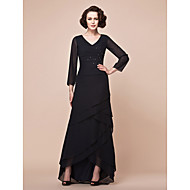 A-line Plus Sizes / Petite Mother of the Bride Dress - Black Asymmetrical Long Sleeve Chiffon