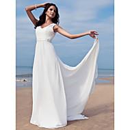 Lanting Bride Sheath/Column Petite / Plus Sizes Wedding Dress-Floor-length V-neck Chiffon