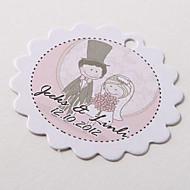 etiqueta personalizada a favor festoneado - día de la boda (juego de 60)