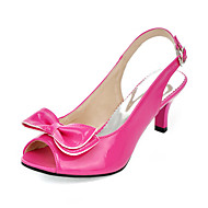 Women's Summer / Fall Slingback Patent Leather Dress Stiletto Heel Bowknot Peach