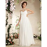 Lanting Bride Sheath/Column Petite / Plus Sizes Wedding Dress-Floor-length Spaghetti Straps Chiffon
