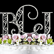 Cake Topper Monogram / Classic Couple Birthday / Wedding / Bridal Shower / Quinceañera & Sweet Sixteen / Anniversary Rhinestone Silver
