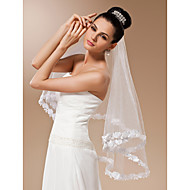 One-tier Tulle Fingertip Veil With Applique (More Colors)