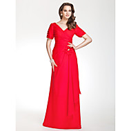 Floor-length Chiffon Bridesmaid Dress Sheath / Column V-neck Plus Size / Petite with Flower(s) / Ruching / Side Draping / Criss Cross