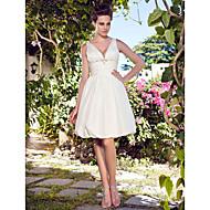 Lanting A-line Plus Sizes Wedding Dress - Ivory Knee-length Halter Taffeta