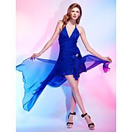 Cocktail Party Dress - Royal Blue Plus Sizes A-line/Princess Halter/V-neck Asymmetrical Chiffon/Stretch Satin