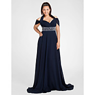 Formal Evening/Military Ball Dress - Dark Navy Plus Sizes Sheath/Column Halter/Off-the-shoulder Sweep/Brush Train Chiffon