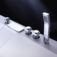 Brass Waterfall Tub Faucet with Hand Shower (Chrome Finish)