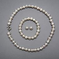 elegant ein Süßwasser-Perlen Schmuck Set, einschließlich Halskette, Armband und Ohrringe