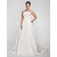 Lanting A-line/Princess Plus Sizes Wedding Dress - White Chapel Train Strapless Satin