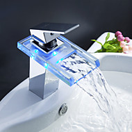 Sprinkle® Sink Faucets  ,  Contemporary  with  Chrome Single Handle One Hole  ,  Feature  for LED / Waterfall / Centerset