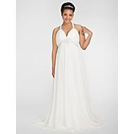 Lanting Bride® Tube / kolonne Petit / Plus Størrelser Brudekjole - Chic og moderne Efterår 2013 Børsteslæb V-hals Chiffon med