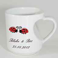 Personalized Mugs with Heart Shaped Handle - Garden Theme