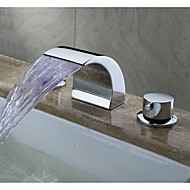 PHASAT® Widespread Two Handles Three Holes in Chrome Bathroom Sink Faucet