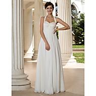 Lan Ting Sheath/Column Plus Sizes Wedding Dress - Ivory Floor-length Halter Chiffon