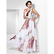 Prom/Formal Evening Dress - Print Plus Sizes Sheath/Column One Shoulder Floor-length Chiffon