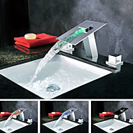 Contemporary Waterfall LED Color Changing Chrome Waterfall Bathroom Sink Faucet