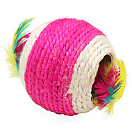 Katteleke Leker til kjæledyr Ball Leke med fjær Vevd Tekstil
