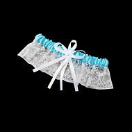 Lace Garter preciosa con bowknot / imitación perlas de la boda