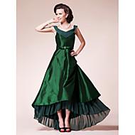 Lanting A-line Plus Sizes / Petite Mother of the Bride Dress - Dark Green Asymmetrical Short Sleeve Chiffon / Taffeta