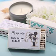 קופסאות גפרורים אישית עיצוב חתונה - כלה& חתן (סט של 12)