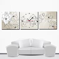 "12 ""-24"" Modern Style Relógio de parede floral na lona 3pcs"
