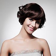 capless lunghezza mento di alta qualità natura sintetica sguardo scuro parrucca castano capelli ricci (0463-lpp490)