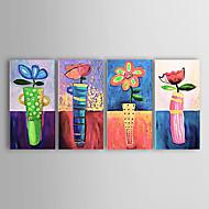 Pintados à mão Floral/Botânico 4 Painéis Tela Pintura a Óleo For Decoração para casa