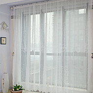 Neoclassical Two Panels Floral  Botanical White Bedroom Polyester Sheer Curtains Shades