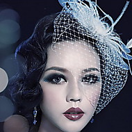 womens feather tulle headpiece wedding special occasion outdoor birdcage veils