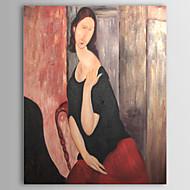 håndmalet oliemaleri Jeanne hebuterne ved Modigliani med strakte ramme