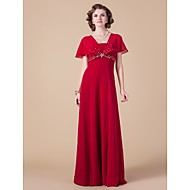 Sheath / Column Plus Size / Petite Mother of the Bride Dress Floor-length Short Sleeve Chiffon with Beading