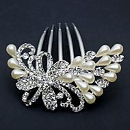 Headpieces liga peafowl chique com pentes de cabelo strass / imitação de pérolas das mulheres