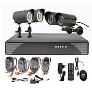 Kit de videovigilancia con 4 cámaras exteriores para dia/noche CCTV