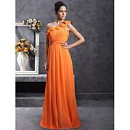 Bridesmaid Dress Floor Length Chiffon Over Stretch Satin Sheath Column One Shoulder Dress