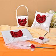 Hochzeits-Kollektion in Satin mit Rosenblättern (5 Stück) gesetzt