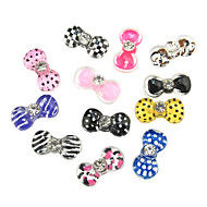24PCS 3D Half Cover Resin Nail Decorations Diamond Cartoon Round Bow Tie