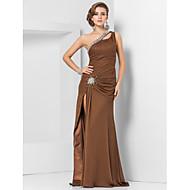 Bainha / coluna um ombro comprimento do piso chiffon vestido de noite com beading by ts couture®