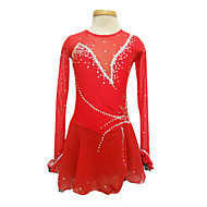 Dumb Light Spandex Elasticated Net Long-sleeved Figure Skating Clothing Red