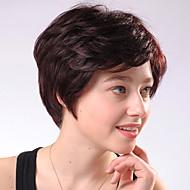 Capless korte Chocolate Brown Curly Gemengd Haar Pruiken Side Bang