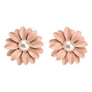 Piękne Pink Pearl / Ceramiczne kolczyki Kwiatki Daisy