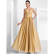 TS Couture® Formal Evening / Military Ball Dress - Gold Plus Sizes / Petite A-line / Princess V-neck Floor-length Chiffon