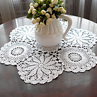 Blanc 100% Coton Rond Sets de table