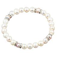 Elegant White Fresh Water Pearl And Crystal Elastic Bracele
