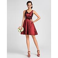 Knee-length Taffeta Bridesmaid Dress - Burgundy Plus Sizes / Petite A-line / Princess V-neck