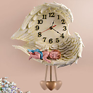 "12""H Sleeping Angel Polyresin Wall Clock with Pendulum"